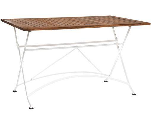 Klaptafel Parklife, Tafelblad: geolied acaciahout,, Frame: verzinkt en gepoedercoat , Wit, acaciahoutkleurig, 130 x 75 cm