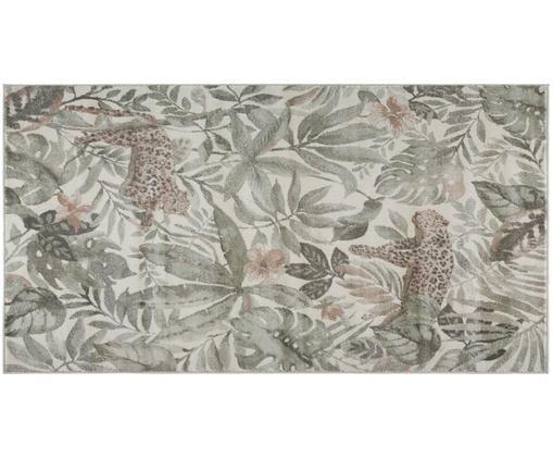 Tappeto con stampa tropicale Sambre, Polipropilene, Verde, marrone rame, beige, Larg. 80 x Lung. 150 cm (taglia XS)