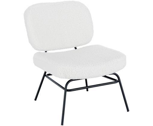 Teddy-gestoffeerde stoel Malte, Bekleding: polyester (teddyvacht), Poten: gepoedercoat metaal, Bekleding: crèmewit. Poten: mat zwart, B 58 x D 71 cm