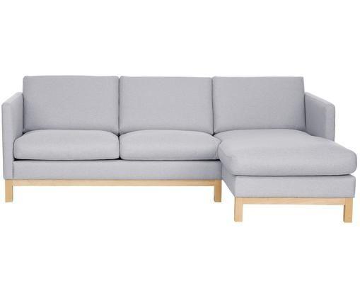 Ecksofa Lian, Bezug: Polyester 35.000 Scheuert, Gestell: Massives Kiefernholz, Hellgrau, B 226 x T 145 cm