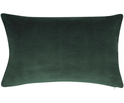 Einfarbige Samt-Kissenhülle Alyson in Smaragdgrün, Baumwollsamt, Smaragdgrün, 30 x 50 cm