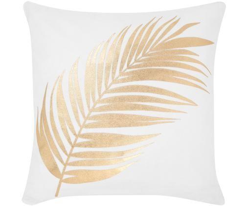 Weiße Kissenhülle Light mit goldenem Feder Print, Baumwolle, Weiß, Goldfarben, 40 x 40 cm
