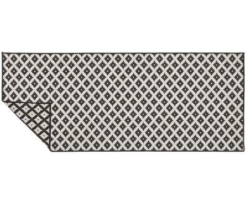 Passatoia reversibile da interno-esterno Nizza, Nero, color crema, Larg. 80 x Lung. 250 cm