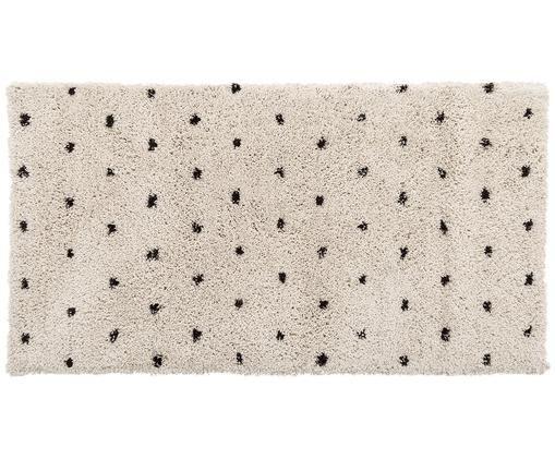 Handgetuft vloerkleed Ayana, Bovenzijde: 100% polyester, Onderzijde: 100% katoen, Beige, zwart, 80 x 150 cm