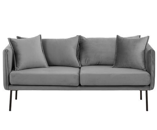 Canapé en velours Ivy (2places), Revêtement: gris Pieds: noir