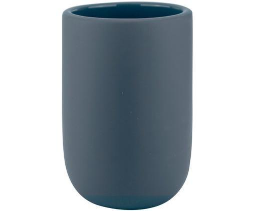 Kubek na szczoteczki Lotus, Ceramika, Niebieski, Ø 7 x W 10 cm