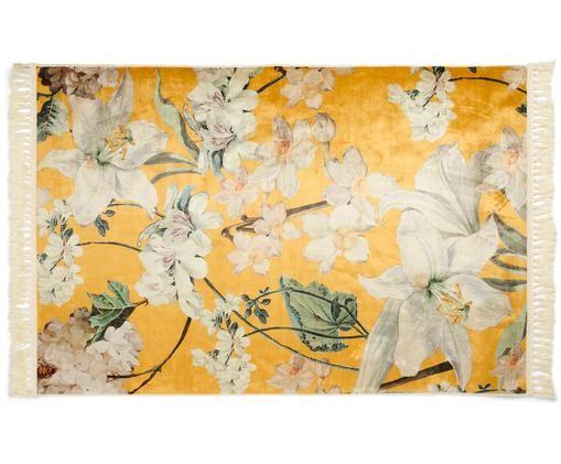 Teppich Rosalee mit Blumenmuster, 60% Polyester, 30% thermoplastisches Polyurethan, 10% Baumwolle, Senfgelb, Mehrfarbig, B 120 x L 180 cm (Größe S)
