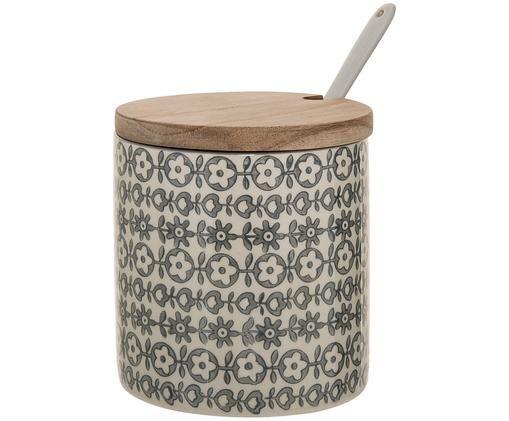 Scatola custodia Karine, 3 pz., Coperchio: legno d'acacia, Bianco latte, grigio, Ø 11 x Alt. 12 cm