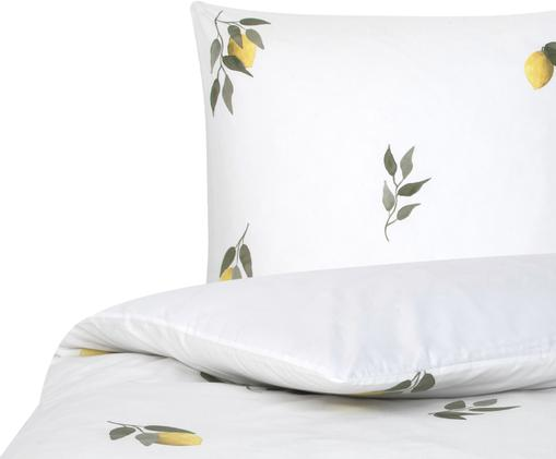 Perkal-Bettwäsche Limone mit Print in Aquarell-Optik, Webart: Perkal, Weiß, Gelb, Grün, 155 x 220 cm