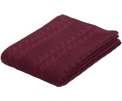 Pled z kaszmiru Leonie, 100% kaszmir Kaszmir to bardzo miękka, wygodna i ciepła tkanina, Ciemny czerwony, S 130 x D 170 cm