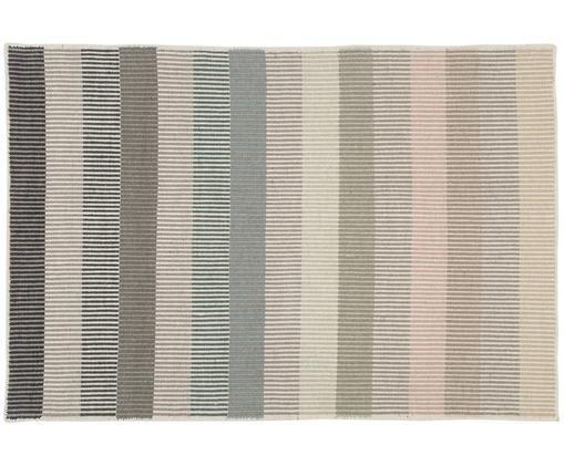 Gestreifter Wollteppich Devise, handgewebt, Mehrfarbig, B 140 x L 200 cm (Größe S)