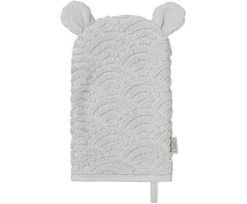 Manopla de baño de algodón ecológico Wave, Algodón orgánico, Gris, An 15 x L 22 cm