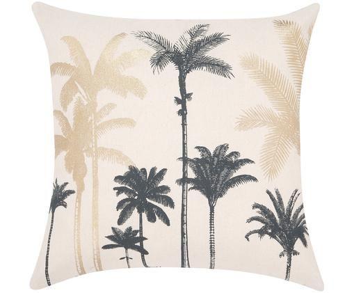 Poszewka na poduszkę Palmas, Bawełna, Ecru, odcienie złotego, ciemny zielony, S 45 x D 45 cm