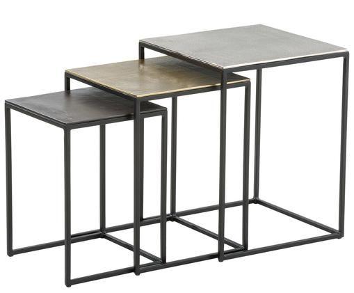 Komplet stolików pomocniczych Dwayne, 3 elem., Aluminium, mosiądz