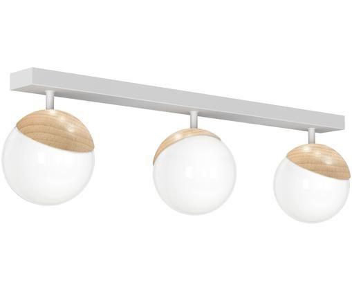 Plafonnier en métal blanc Sfera, Blanc, bois
