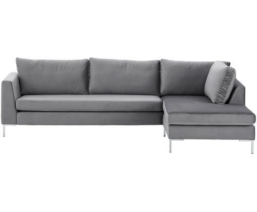 Samt-Ecksofa Luna, Bezug: Samt (Polyester) 80.000 S, Gestell: Massives Buchenholz, Füße: Metall, galvanisiert, Samt Dunkelgrau, Silber, B 280 x T 184 cm