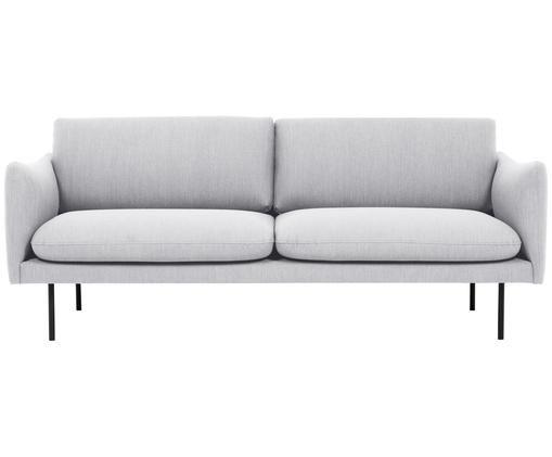 Bank Moby (2-zits), Bekleding: polyester, Frame: massief grenenhout, Poten: gepoedercoat metaal, Lichtgrijs, B 170 x D 95 cm