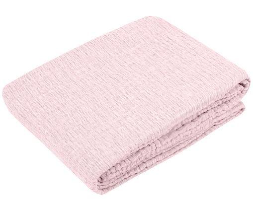 Copriletto reversibile in lino Harriet, rosa / crema, Rosa, crema
