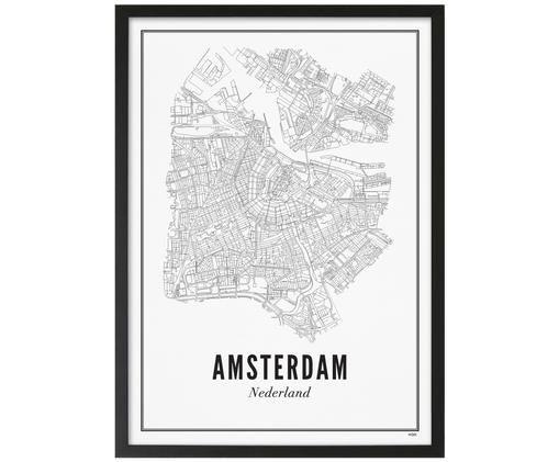 Gerahmter Digitaldruck Amsterdam, Bild: Schwarz, WeißRahmen: Schwarz, matt