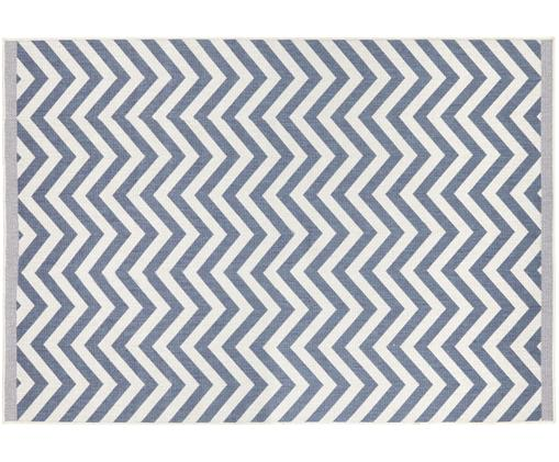 Dubbelzijdig in- & outdoor vloerkleed Palma, Blauw, crèmekleurig, B 160 x L 230 cm (maat M)
