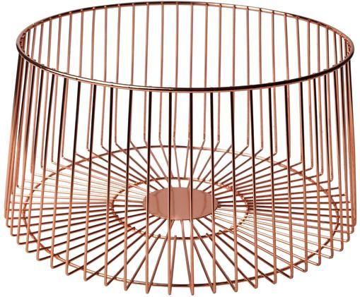 Aufbewahrungskorb Basket in Kupfer, Rostfreier Stahl, beschichtet, Kupferfarben, Ø 30 x H 16 cm