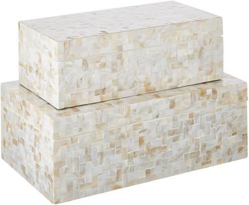 Set scatole custodia Lamina, 2 pz., Madreperla, resina, Beige, Diverse dimensioni