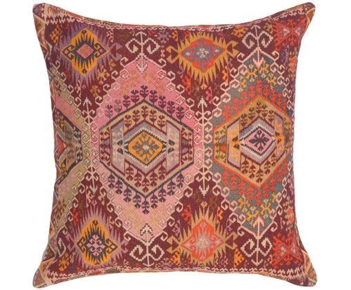 Poszewka na poduszkę etno Tarso, Bawełna, Czerwony, blady różowy, pomarańczowy, beżowy, S 45 x D 45 cm