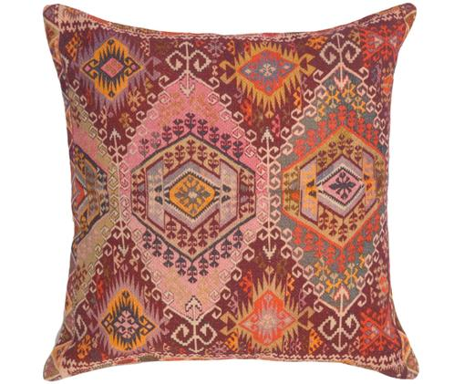 Housse de coussin style ethnique Tarso, Rouge, rose, orange, beige