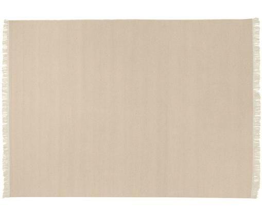 Ręcznie tkany dywan z wełny z frędzlami Rainbow, Odcienie piaskowego, S 170 x D 240 cm (Rozmiar M)