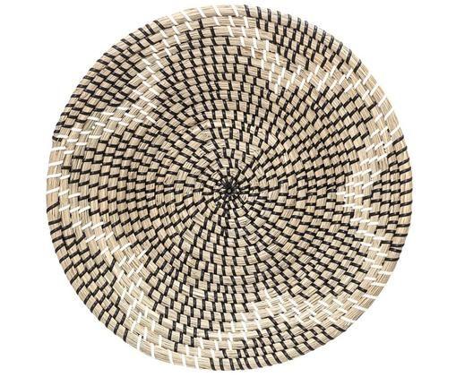 Wandobjekt Star aus Seegras, Seegras, Schwarz, Weiß, Seegras, Ø 36 x T 7 cm