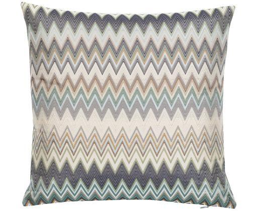 Designer Kissen Masuleh mit Zickzack-Muster, mit Inlett, Hülle: 45% Polyester, 42% Acetat, Mehrfarbig, 40 x 40 cm