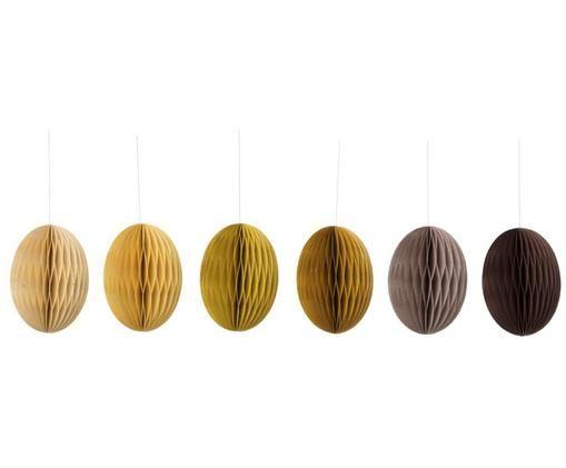 Komplet wiszących dekoracji wielkanocnych Curry, 6 elem., Beżowy, żółty, brązowy, Ø 14 x W 20 cm