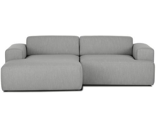 Hoekbank Marshmallow (3-zits), Bekleding: polyester, Frame: massief grenenhout, spaan, Poten: grenenhout Het FSC-gecert, Grijs, B 240 x D 144 cm