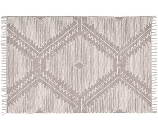 Handgewebter Teppich Karola, Taupe, Cremeweiß, B 120 x L 180 cm (Größe S)