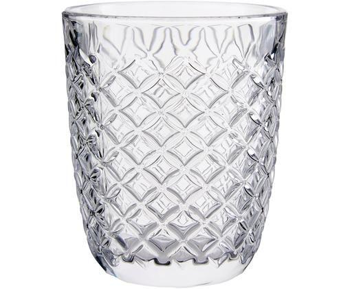 Bicchiere acqua con motivo a rilievo Arlequin 6 pz, Vetro, Trasparente, 250 ml
