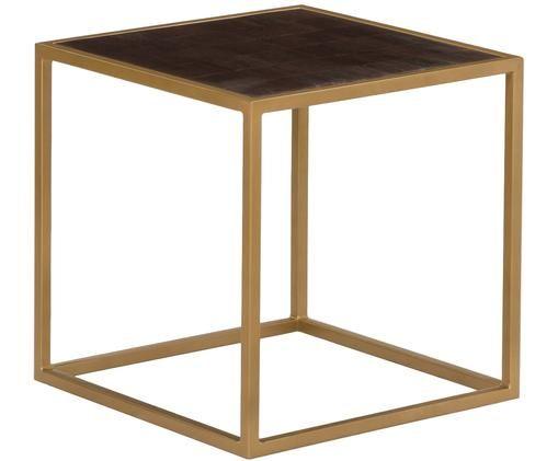 Tavolino James, Piano d'appoggio: legno di mango con vernice scura Struttura: dorato, opaco