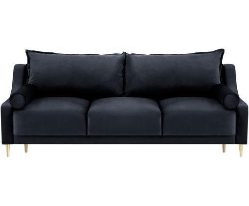 Sofa rozkładana z aksamitu Lea (3-osobowa), Tapicerka: aksamit poliestrowy, Nogi: metal malowany proszkowo, Ciemny niebieski, S 215 x G 94 cm