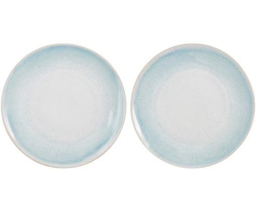 Piatto fatto a mano Amalia 2 pz, Ceramica, Azzurro, bianco crema, Ø 25 cm