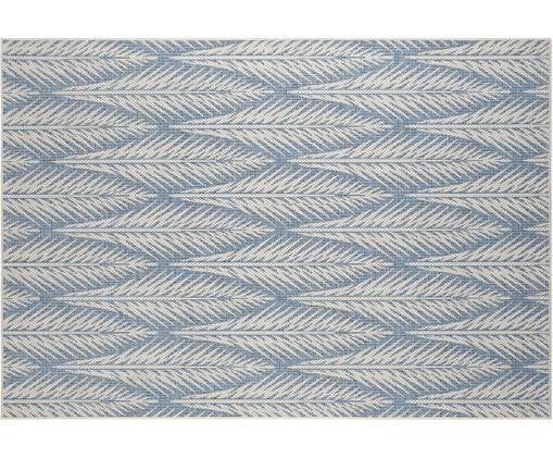 Design In- und Outdoorteppich Pella mit grafischem Muster, Polypropylen, Blau, Beige, B 70 x L 140 cm (Größe XS)