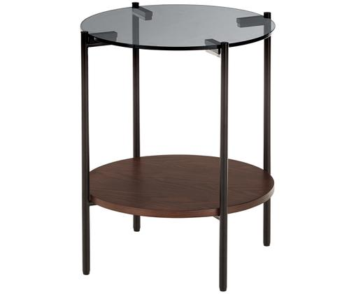 Table d'appoint avec plateau en verre Valentina, Brun