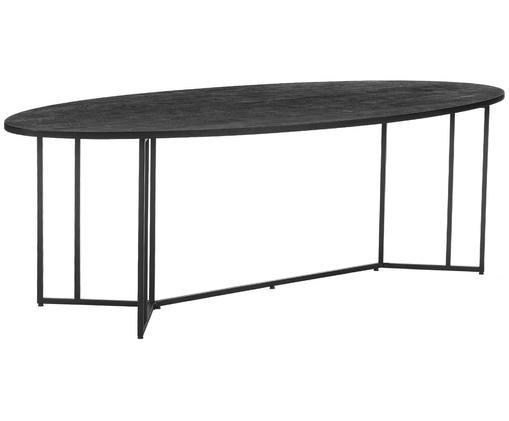 Oválný jídelní stůl zmasivu včerné bavě Luca, Deska stolu: černé lakované mangové dřevo Rám: matná černá
