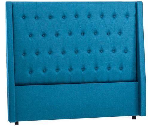 Cabecero Fardi, Estructura: tablero de fibras de dens, Tapizado: lino, Azul, An 160 x Al 140 cm