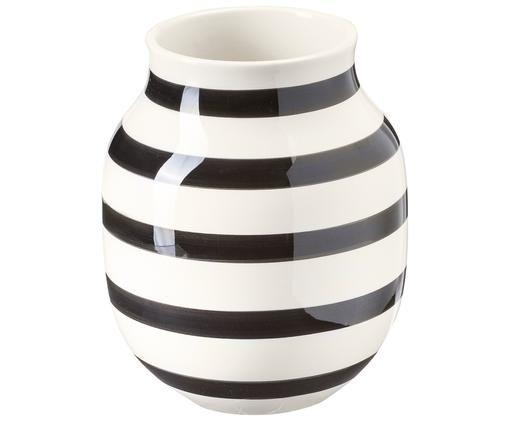 Jarrón artesanal mediano de diseño Omaggio, Negro, blanco