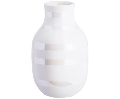 Vaso fatto a mano Omaggio, Ceramica, Bianco, colori madreperla, Ø 8 x Alt. 13 cm
