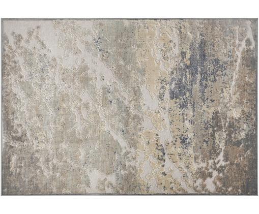 Viskose-Teppich Arroux mit Hoch-Tief-Effekt, Flor: 90% Viskose, 10% Polyeste, Grau, Silberfarben, B 120 x L 170 cm (Größe S)