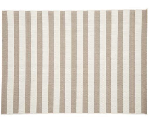 Gestreept in- & outdoor vloerkleed Axa, Bovenzijde: polypropyleen, Onderzijde: polyester, Crèmewit, beige, B 160 x L 230 cm (maat M)