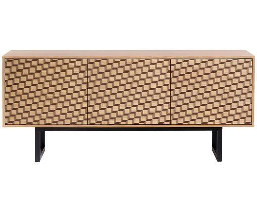 Credenza di design con impiallacciatura Camden, Piedini: legno di betulla vernicia, Legno di quercia, Larg. 175 x Alt. 75 cm