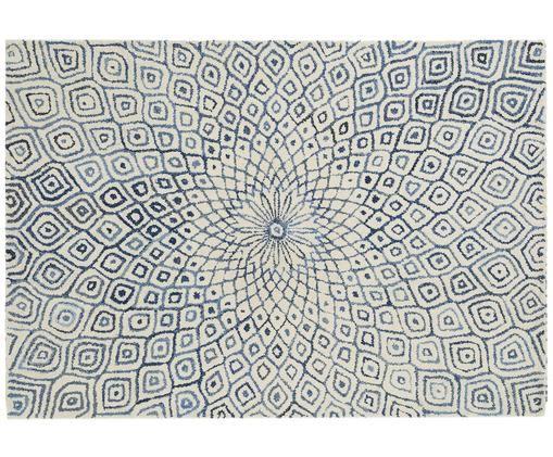 Handgetufteter Teppich Fleur in Creme-Blau mit Muster, Flor: 60% Wolle, 40% Baumwolle, Jeansblau, B 160 x L 230 cm (Grösse M)