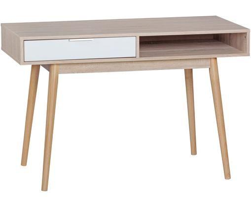 Schreibtisch Samo in Eichen-Optik, Tischplatte: Spanplatte, foliert, Beine: Eichenholz, Eichenholz, Weiß, 120 x 79 cm