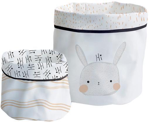 Set de corbeilles de rangement Rabbit, 2élém., Blanc, noir, beige